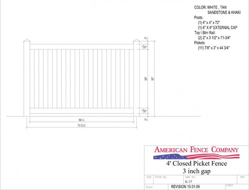 "K-17   4' Tall x 6' Wide Closed Picket Fence with 3"" Air Space - White"