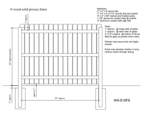 Wood Fence Drawing On 6 Wood Solid Privacy Fence Drawing Americas Store