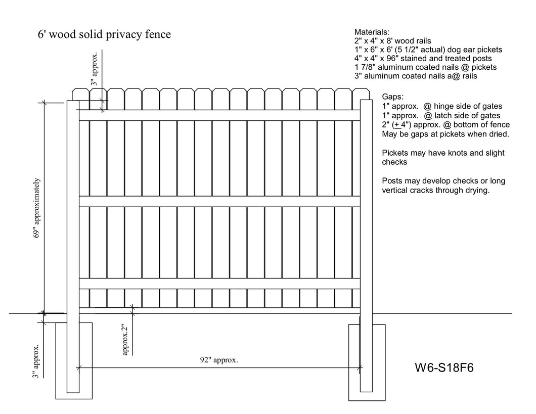 6' wood solid privacy fence drawing