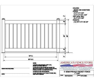 "AFC-006   5' Tall x 8' Wide Semi Private Fence with 1"" Air Space"