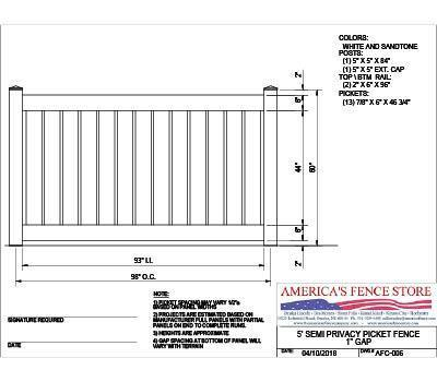 AFC-006   5' Tall x 8' Wide Semi Private Fence with 1
