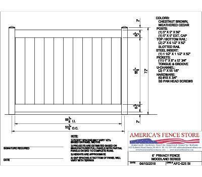 Afc 025 6 Tall X 8 Wide Privacy Fence Woodlands Series