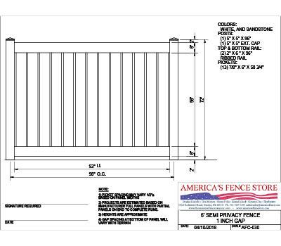 "AFC-030   6' Tall x 8' Wide Semi Private Fence with 1"" Air Space - White"