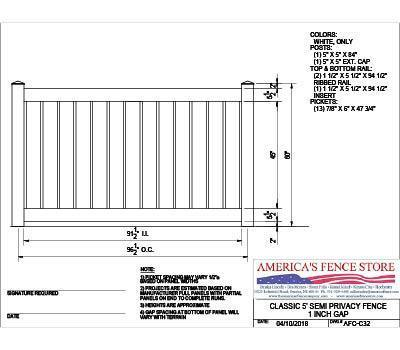 AFC-C32 5' Tall x 8' Wide Privacy Fence