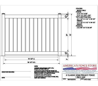 AFCC62   6' Tall x 8' Wide Semi Private Fence with 1