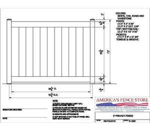 K-28D 6' Tall x 8' Wide Privacy Fence