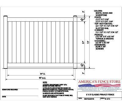 K-373 6' Tall x 8' Wide Privacy Fence - Sandstone