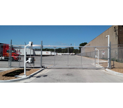 Aluminum Chain Link Cantilever Gate 6' tall 24' wide