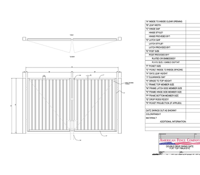 "144"" x 36"" Flat Top Double Drive Gate"