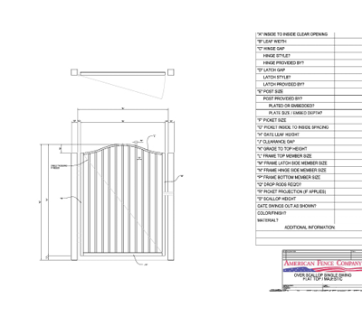 "48"" x 72"" Overscallop Flat Top Single Swing Gate"