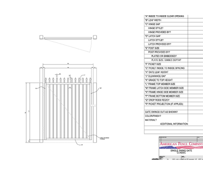 "72"" x 48"" Spear Top Single Swing Gate"
