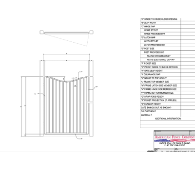 "48"" x 72"" Underscallop Spear Top Single Swing Gate"