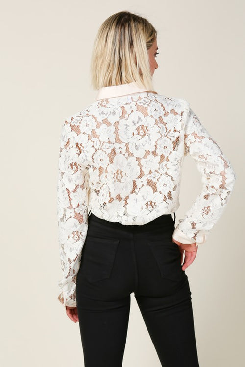 Lace Button Down Shirt