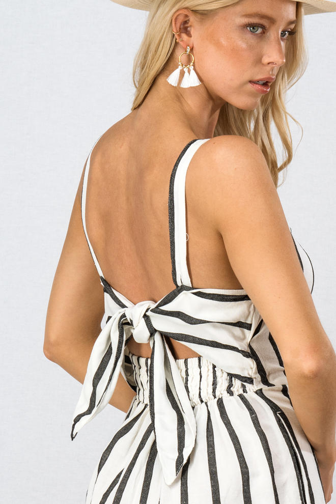 Ribbon Tie Open Back Romper