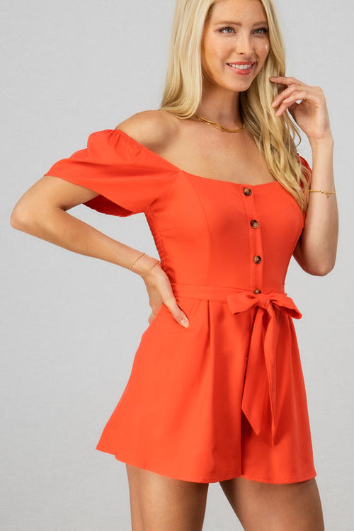 Off-shoulder Button Down Romper