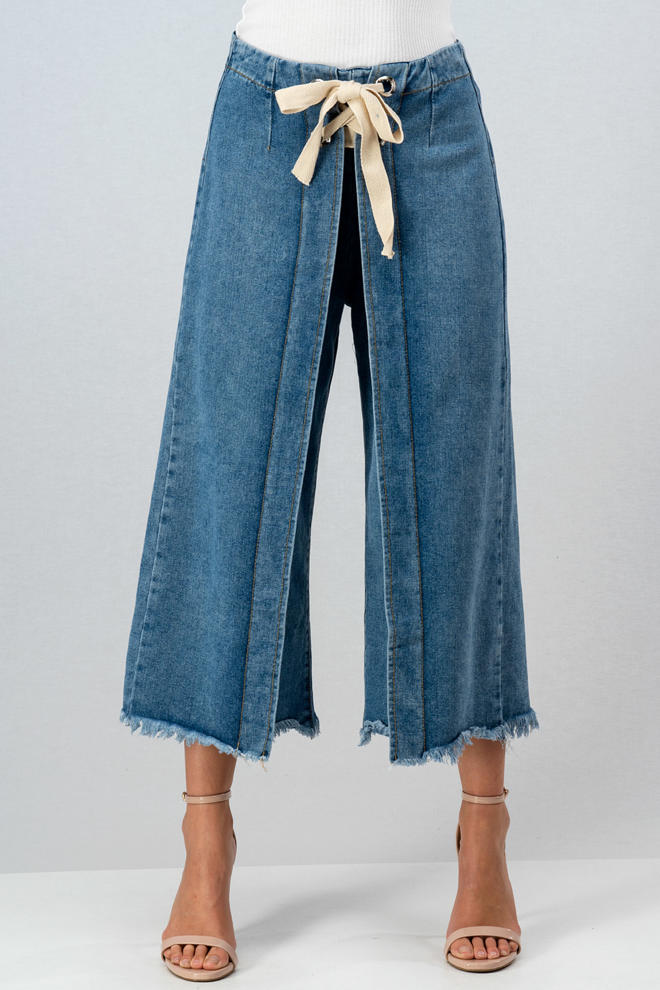 Rope Belt Raw Hem Jeans