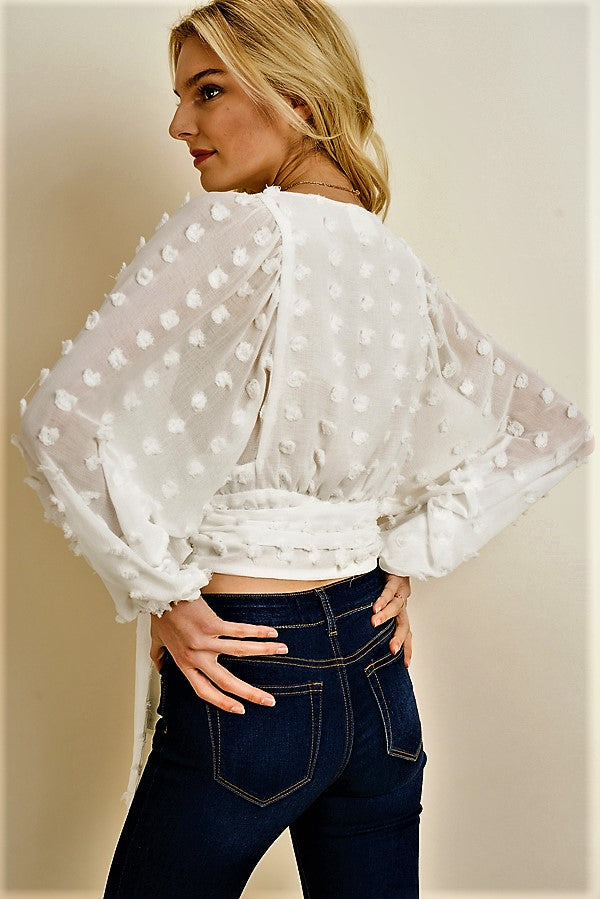 Embroidered Polka Dot Wrap Top