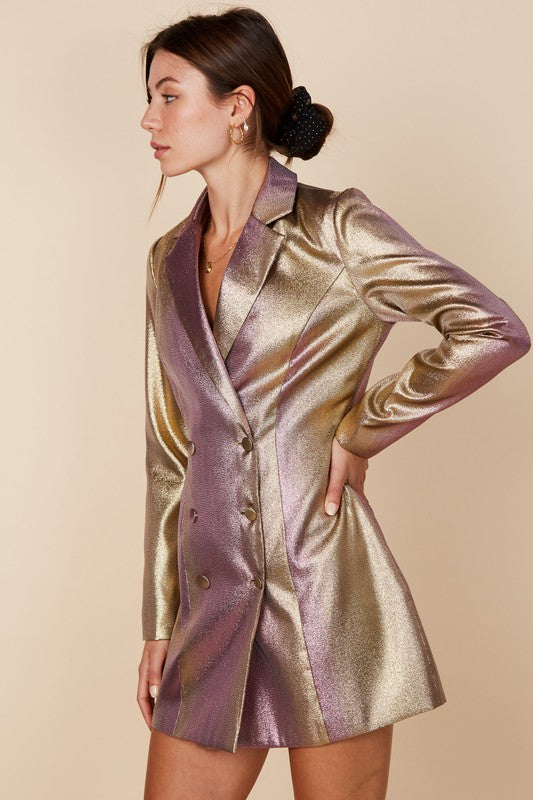 Metallic Blazer Dress