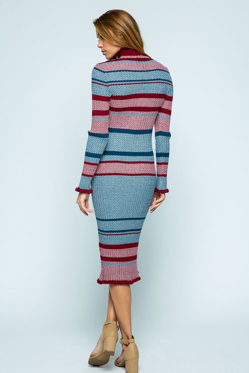 Ribbed Color Blocked Midi Dress