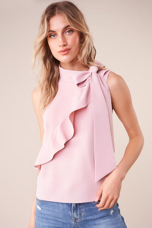 Sleeveless Neck Tie Top