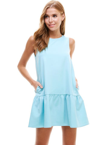 Sleeveless Ruffle Neck Mini Dress