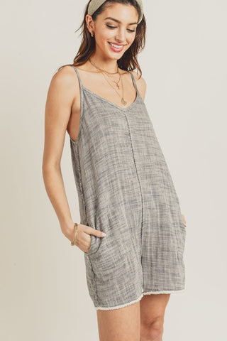 Stripe Fringe Hem Mock Neck Tank