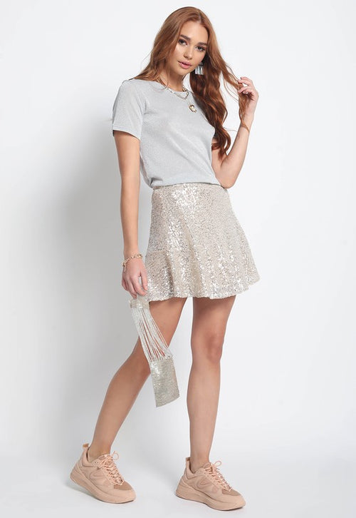 Sequin Flare Mini Skirt