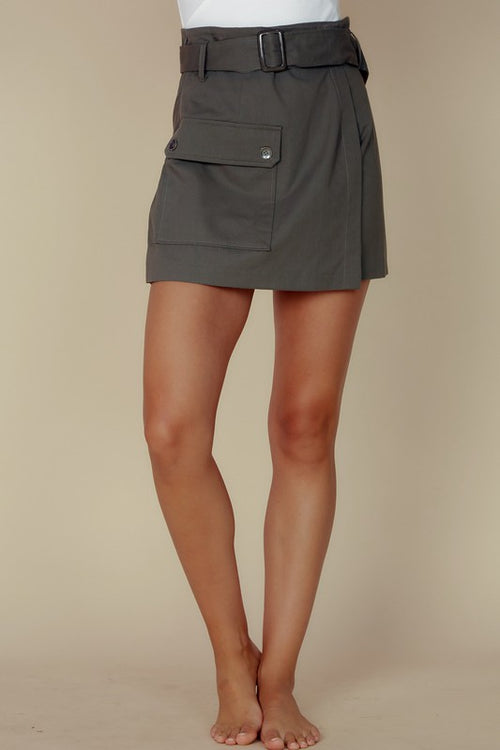 Pocket Detail Skirt with Belt