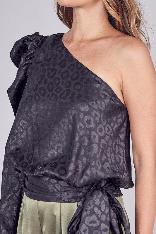 Leopard One-Shoulder Top