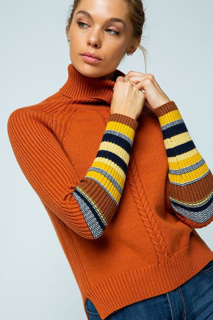 Ribbed Contrast Sleeves Turtleneck Sweater