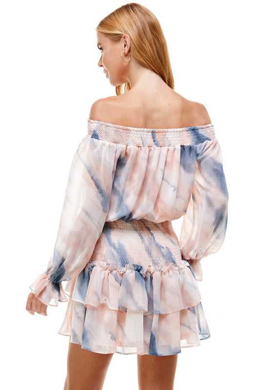 Tie Dye Off-Shoulder Mini Dress