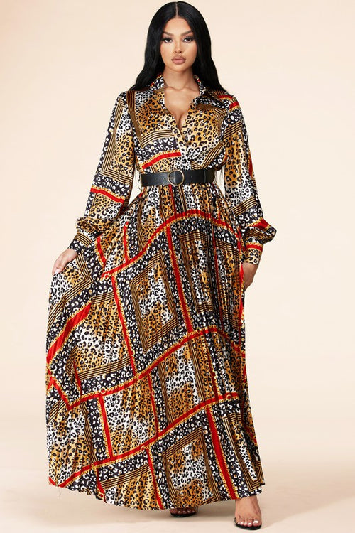 Royal Leopard Mix Maxi Dress