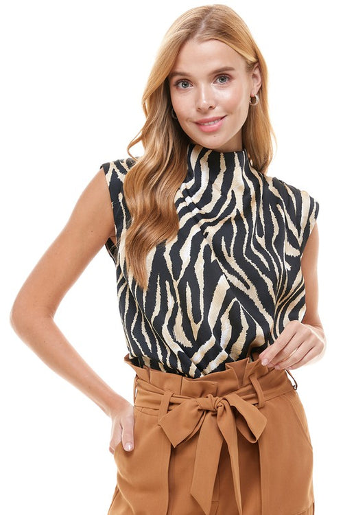 Zebra Draped Neck Top