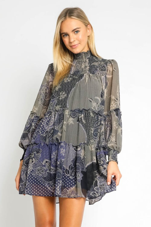 Paisley Mock Neck Dress