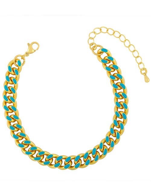 Turquoise & Gold Chunky Link Chain Bracelet