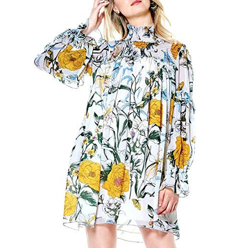 Gracia Floral Smocking Detail Tunic Dress