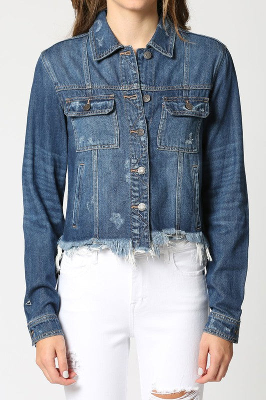 Dark Wash Frayed Fitted Denim Jacket