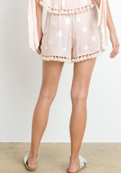 Le Lis Star Embroidered Tassel Shorts