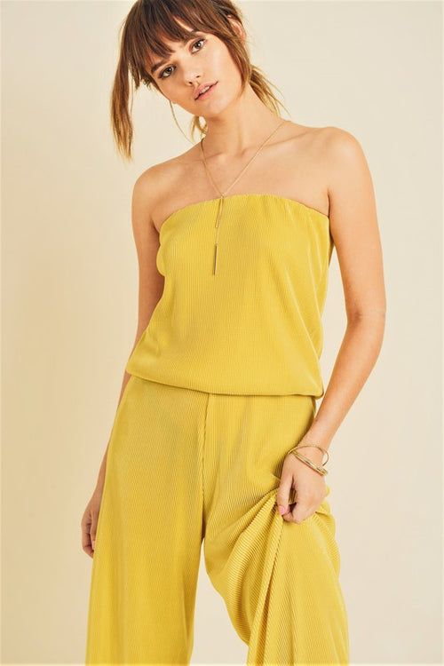 Strapless Pleated Jumpsuit