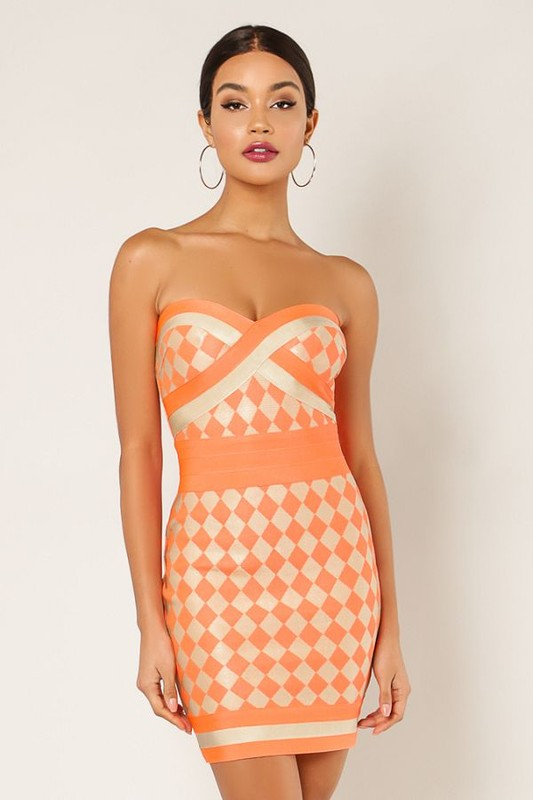 Strapless Checkered Pattern Dress