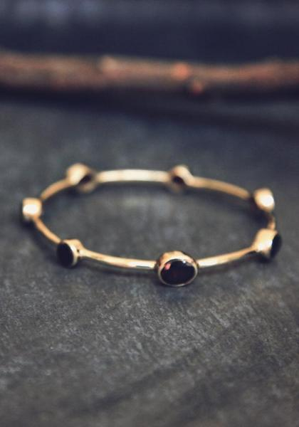 Opulent Ore Brass Bangle - Garnet