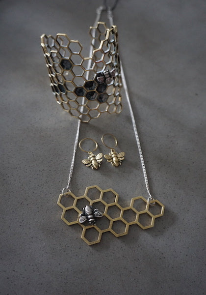 Opulent Ore Brass & Sterling Silver Bee Necklace