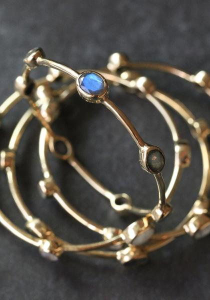 Opulent Ore Brass Bangle - Labradorite