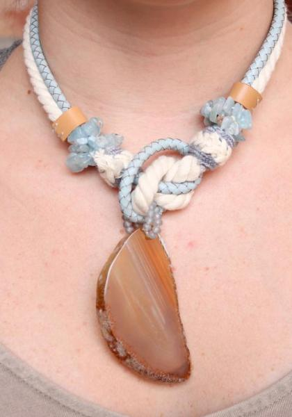 Leather & Rope Knotted Necklace