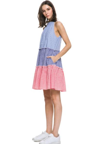 English Factory Gingham Halter Dress