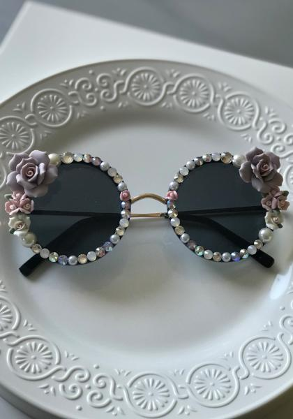 Shadey Rose Rounded Pearls & Crystals Sunnies