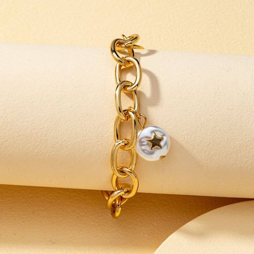Gold Chain Link Bracelet with Pearl Star Charm
