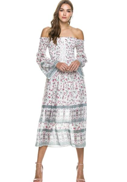 Endless Rose Primrose Off Shoulder Maxi Dress