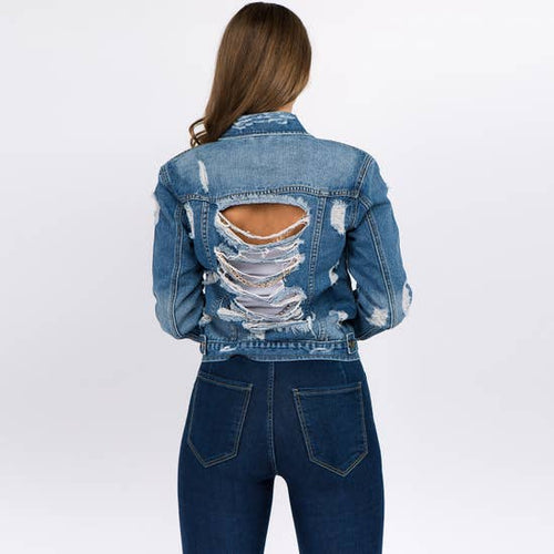 Denim Jacket with Chains