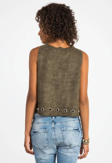 Grommet Vegan Suede Top